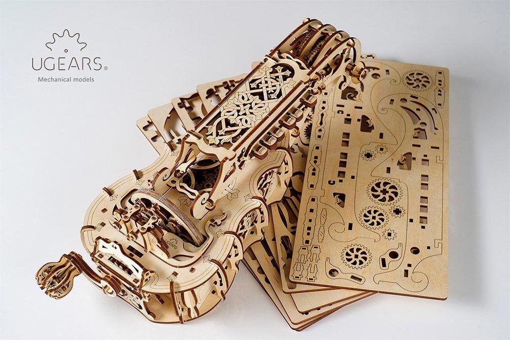 UGEARS Hurdy-Gurdy - Mechanical Wooden Model Musical Instrument 70030