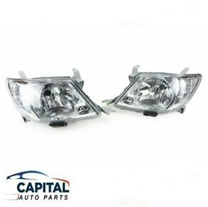 Pair of Headlights with Clear Indicators Toyota Hilux 2005-2011 SR/SR5/Workmate