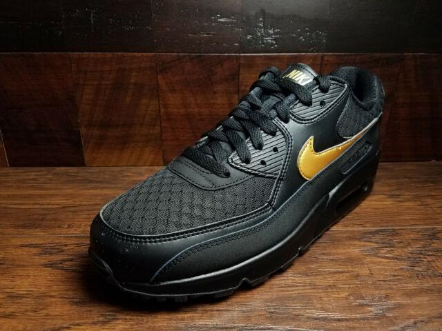 Nike Air Max 90 Essential Black Metallic Gold Av7894 001 Mens Size 8.5
