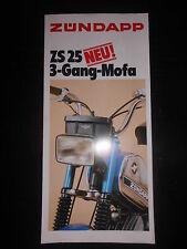 Prospekt Sales Brochure Zündapp ZS 25 3 Gang Mofa Technische Daten Ausstattung