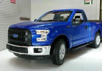 1//24 Scale Diecast Model Toy Car Welly 2015 Ford F-150 Regular Cab Pick Up Blue 24063WBU