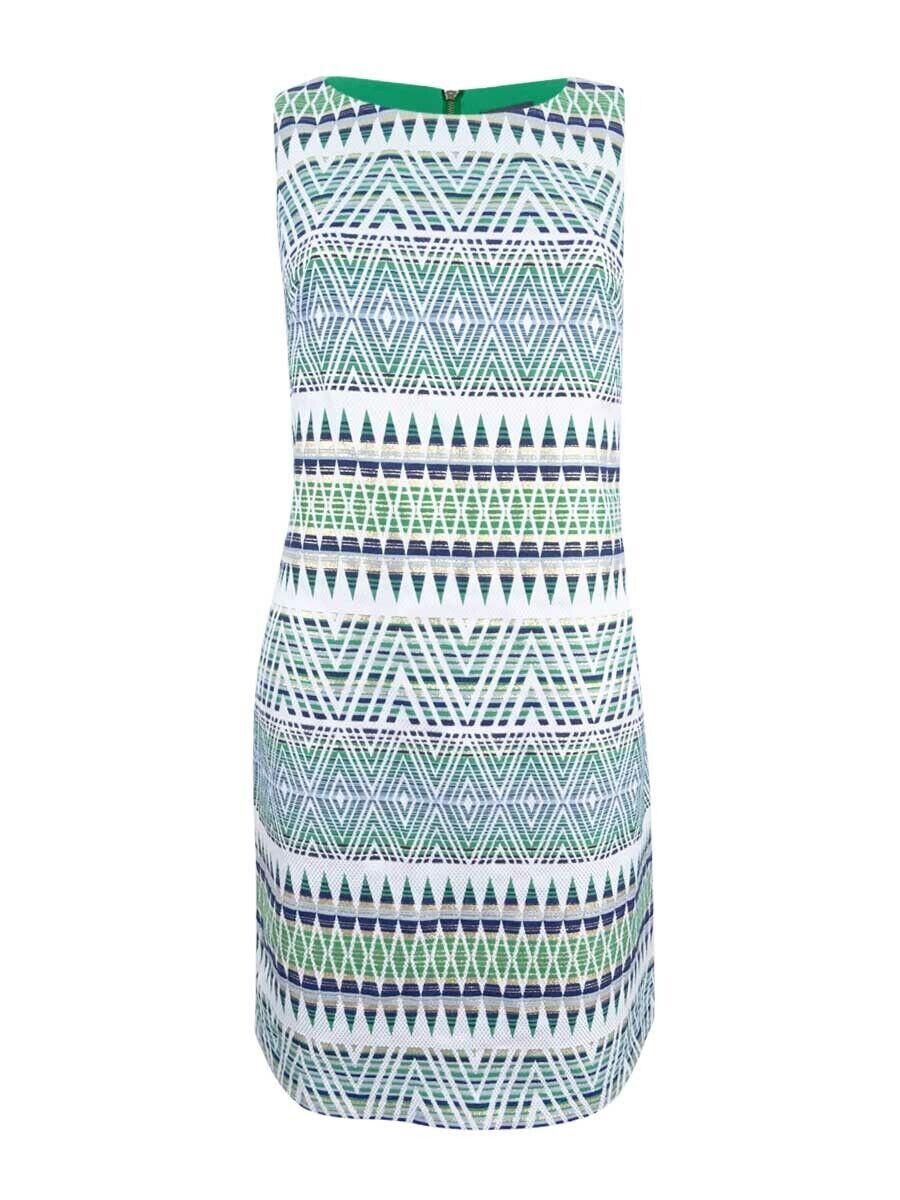 Vince Camuto Women's Geometric Jacquard Dress (14, Green White)