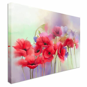 Red poppy flowers painting blur background canvas wall art prints image is loading red poppy flowers painting blur background canvas wall mightylinksfo Image collections