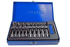 BERGEN-Tools-27pc-3-8-034-1-2-034-dr-Torx-amp-E-Torx-Sockets-amp-Bit-Socket-Set-NEW-1178
