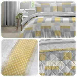 Dreams-amp-Drapes-Duvet-Cover-Bedding-Set-Patchwork-Brushed-Cotton-Ochre-Grey