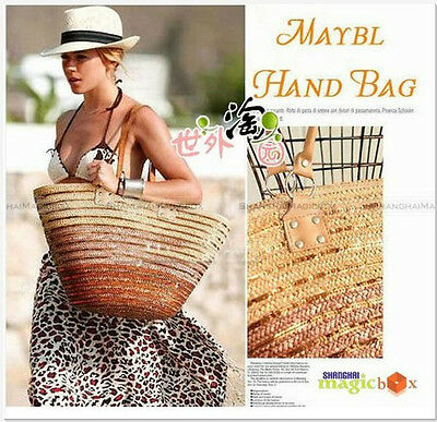 Lady Fashion Women Summer Straw Beach Tote Shoulder Bag Sienna Miller SM8 WBG261