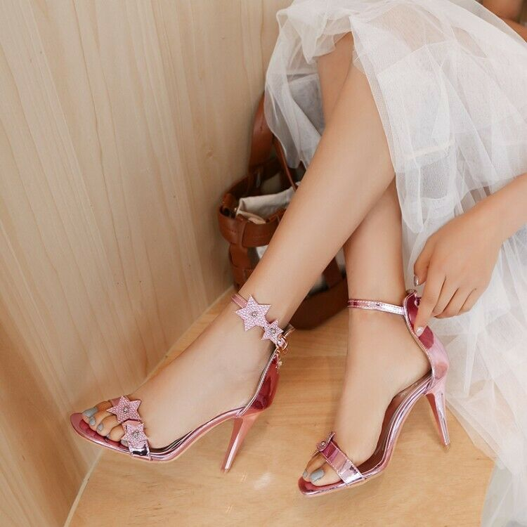 Fashion Ladies Ankle Strap Sandals High Stilettos Heels Open Toe Party shoes New