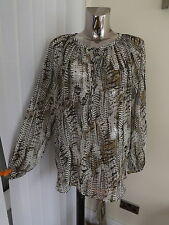 M&S INDIGO GREY MIX LONG SLEEVE LONGER BLOUSE TOP SIZE 16 LOOSE FIT BNWT RP £27