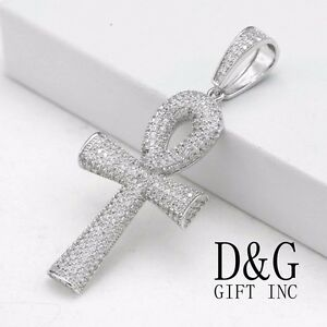Dg mens 925 sterling silverankh crossiced out cz charm pendant image is loading dg men 039 s 925 sterling silver ankh aloadofball Choice Image
