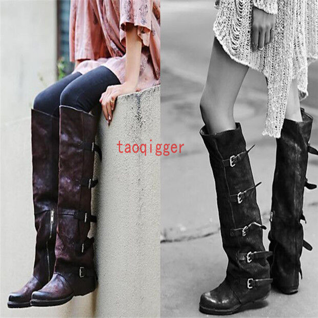 Retro Genuine Leather Women's Knee high Boots Winter Warm Buckles Zip block Shoe