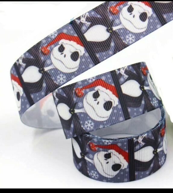"1"" 2 YARDS Jack Skellington Christmas Grosgrain Ribbon Cards Bows Gift Wrap | eBay"