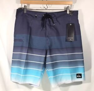 "0cae8eac5f NWT Quiksilver Board Shorts 20"" White Blue Striped Swim Trunks Surf ..."