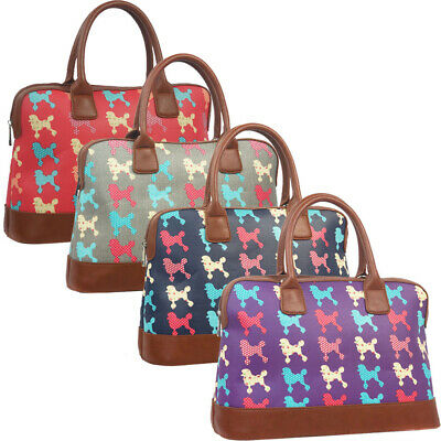 Fashion Ladies Oilcloth Butterfly Holdall Weekend Travel Shoulder Bag Handbag Wo