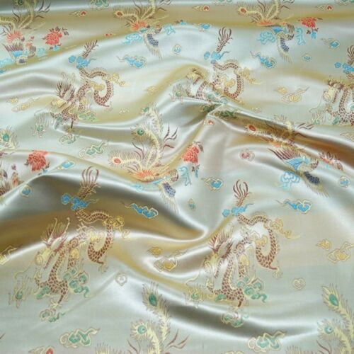 Brocade Chinese Dragon Fabric Embroidered Silky Satin Oriental
