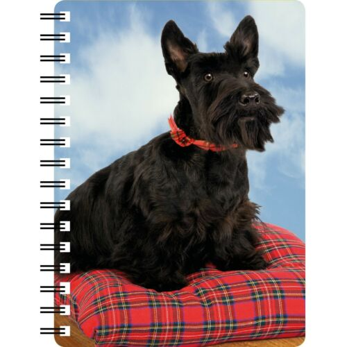 Scottish Terrier sitting on a tartan cushion 3D picture on the cover notebook