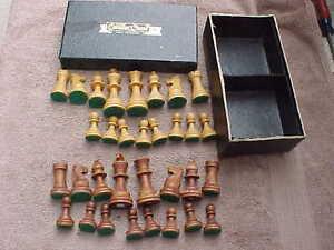 Vintage cavalier chess wood staunton chessmen complete set orig box nice ebay - Nice wooden chess set ...