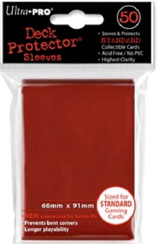 10x PACKS Magic, Pokemon, Standard sized UltraPro RED Card Sleeves 50ct NEW!