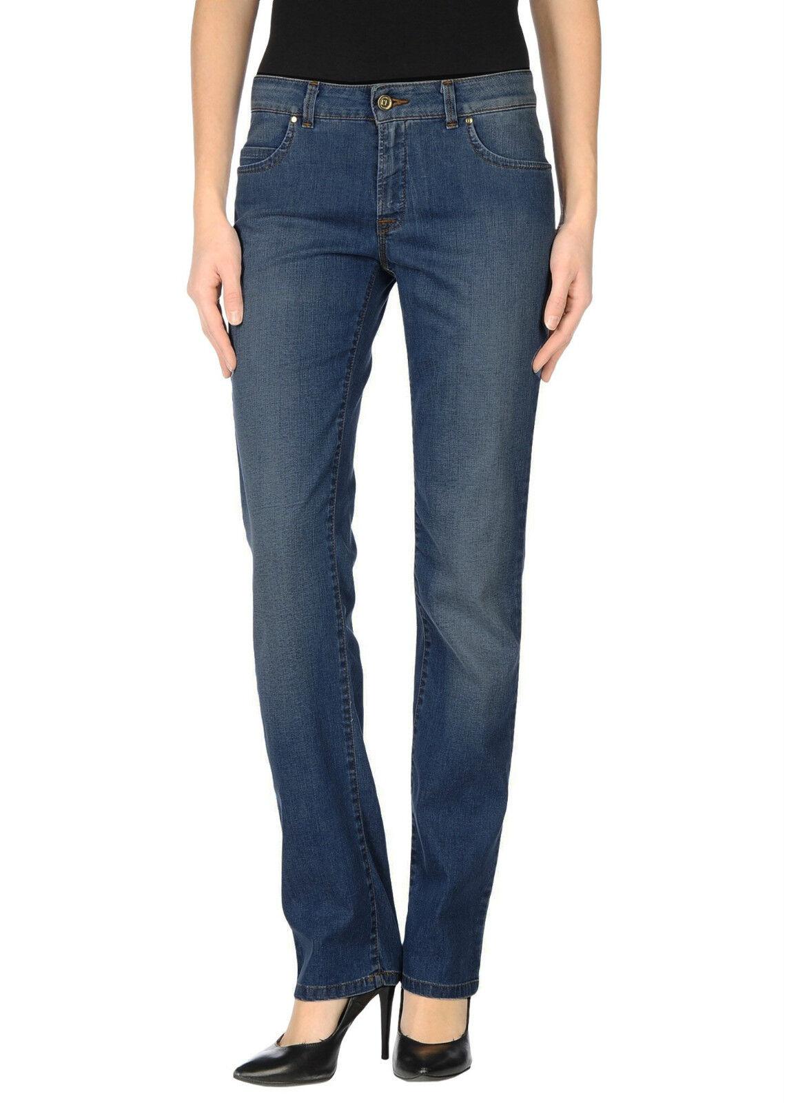 TJ TRUSSARDI JEANS jeans con strass logo ricamato vita alta gamba dritta PROMO