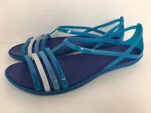 f2f4184e92a1 Crocs Women s Isabella Turquoise Blue Sandals (202465-4P1) Size 11 ...