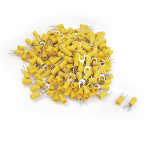500 Pcs SV5.5-6S 12-10 AWG Yellow PVC Sleeve Insulating Fork Terminals Connector