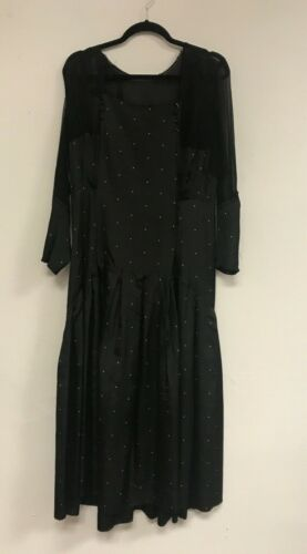 1920s Vintage Antique silk Black Dress White Dots