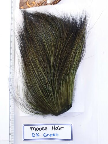 """LG  # 1 DYED MOOSE BODY HAIR { Mane } /"""" DR.GREEN /"""" Hard to Find in Fly Shop"""