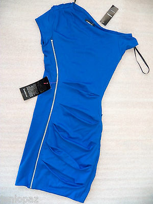 NWT bebe blue asym zipper front cocktail bodycon sexy top skirt dress X XS XXS