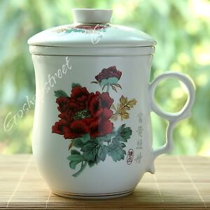 Peony-Flower-Ceramic-China-Porcelain-Tea-Cup-Coffee-Mug-lid-Infuser-Filter-270ml