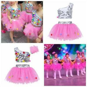 42add935f145 Kid Girls Dance wear Outfit Sequins Ballet Dress Party Jazz Tutu Skirt ...
