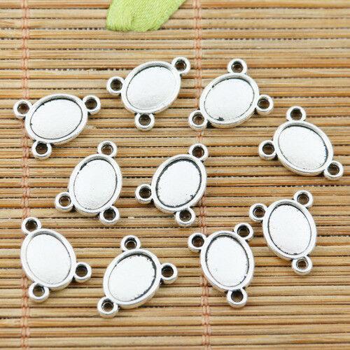 30pcs Tibetan Silver Color 2 Face Cameo connecteur 9x7mm EF2357
