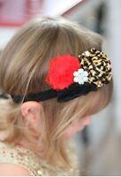 Cheetah And Red Shabby Flower Headband