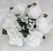 6 WHITE Candle Rings ~ Silk Wedding Flowers Roses ~ Centerpieces Decorations NEW