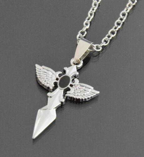 Halskette Kreuz Anhänger Kette Set Edelstahl Kreuzkette Gothik L 47 cm Stein