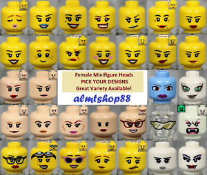 LEGO-FEMALE-Minifigure-Heads-PICK-YOUR-STYLE-Yellow-Flesh-Print-Faces-People