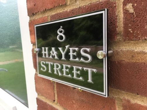 House Door Number Plaque Gate Wall Sign Name Plate Glass Acrylic