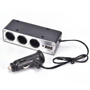 Black-3-Ways-Multi-Socket-Car-Cigarette-Lighter-Splitter-USB-Charger-HgBLCA