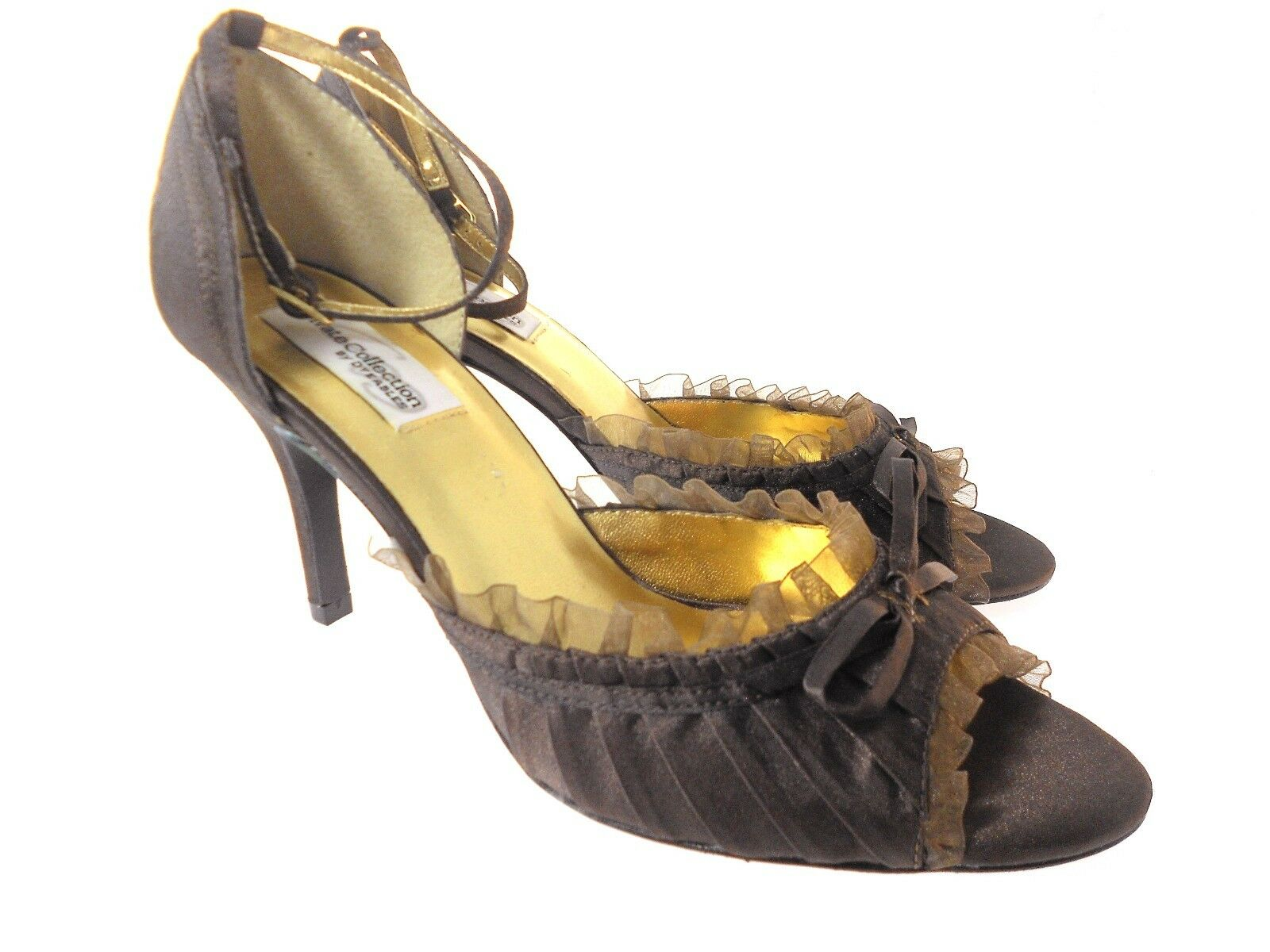DYEABLES FRILLY CHOCOLATE BROWN SATIN SHOES WOMEN'S SIZE 9