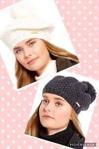 a4d856ce281f8 NWT Michael Kors Tuck Stitched Winter Knit Pom Beret Hat Cream Derby ...