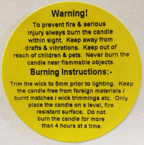49mm dia 250 Candle Warning Labels yellow candle labels