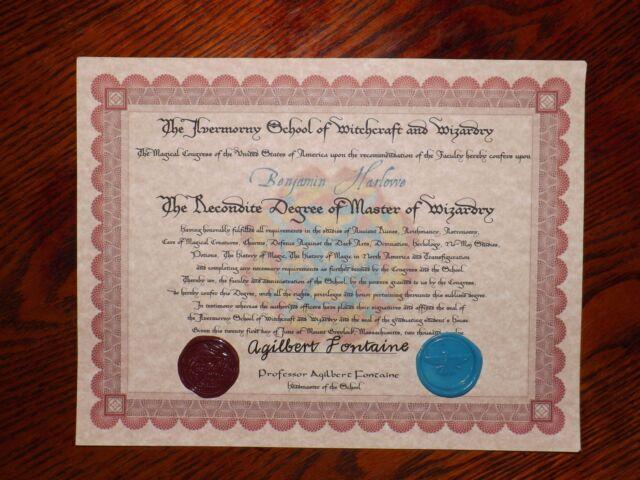 American Wizarding School Diploma with Bonus Pendant