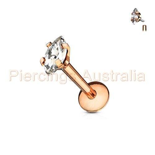 16G Oval CZ Internally Threaded Labret Monroe Lip Bar Ring Body Jewellery