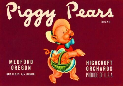 Medford Oregon Piggy Pears #1 Pig Pear Fruit Crate Label Art Print