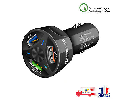 CHARGEUR VOITURE ALLUME CIGARE USB 3 PORT TELEPHONE IPHONE SAMSUNG iPAD 3.0A