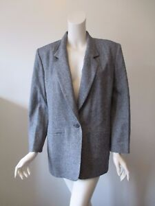 Women S Pendleton Gray Navy One Button 100 Virgin Wool Suit Jacket