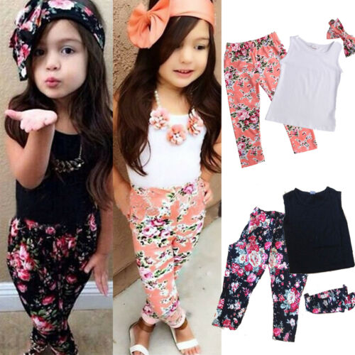 Kids Baby Girls Outfits Clothes T-shirt Tops Legging Pants Jeans 3PCS Set 1-9Y