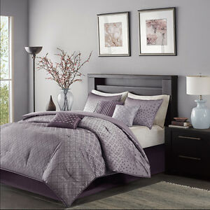 Beautiful Modern Contemporary Stripe Purple Grey Comforter Set King