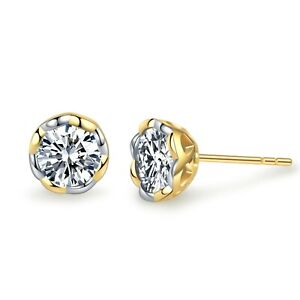 FASHION-ATTITUDE-18k-gold-gp-made-with-Swarovski-crystal-round-stud-earrings