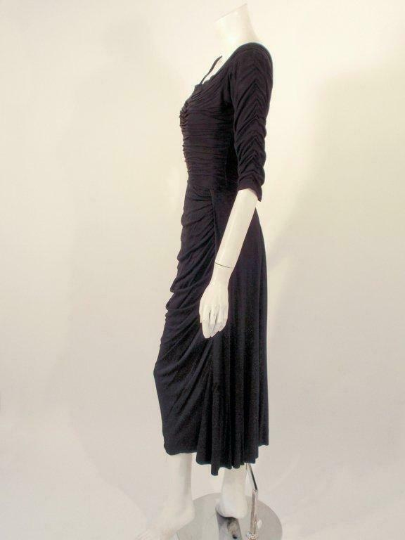 CEIL CHAPMAN Black Ruched Cocktail Dress with 3/4… - image 4