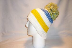 1a61648638f Image is loading LUXURY-WHITE-BLUE-YELLOW-STRIPED-BOBBLE-HAT-BEANIE-