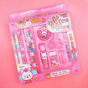 Big-Kawaii-Animals-Stationery-Set-Pink-10-PCS-Cute-Korean-Gift-Glue-Ruler-Eraser